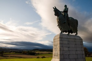 The statue of Robert the Bruce looking over the battlefield of Bannockburn